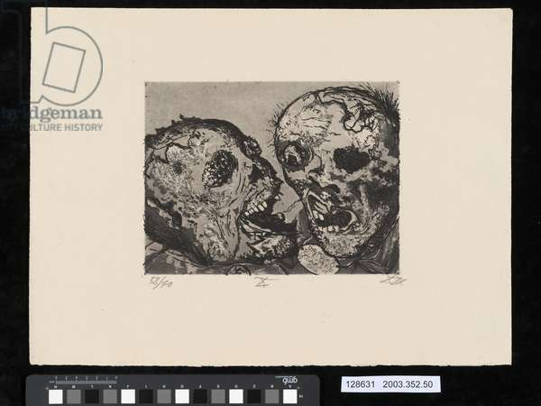 Dead men before the position at Tahure, illustration from the portfolio 'Der Krieg', 1924 (etching, aquatint & drypoint)