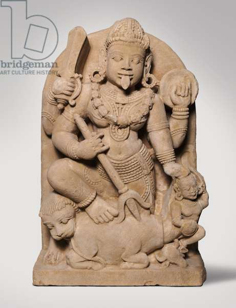 Goddess Durga slaying the buffalo demon (Durga Mahisasuramardini)