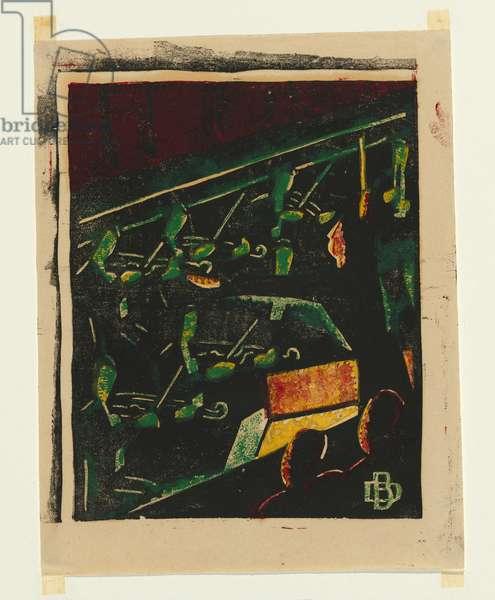 Orchestra Pit, Theatre Royal, c.1936 (colour linocut)