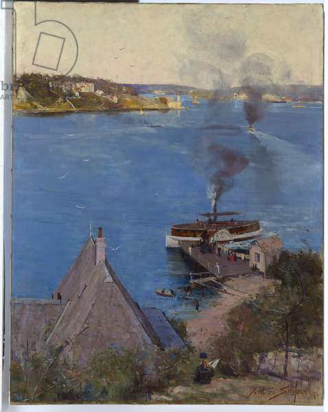 From McMahon's Point - fare one penny, 1890 (oil on canvas)