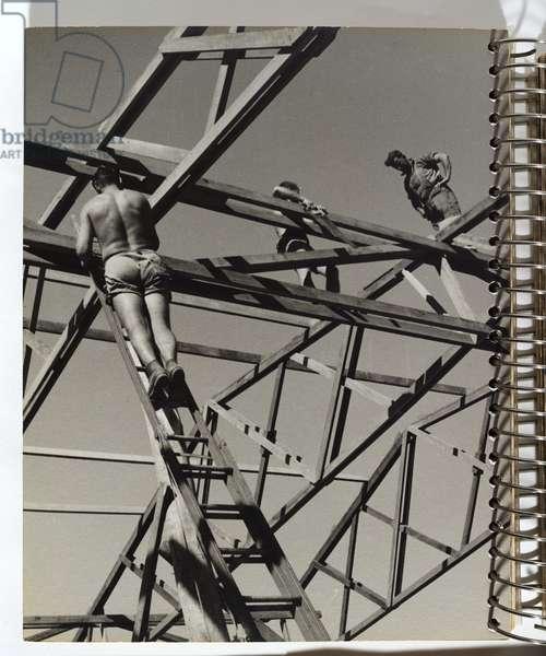 Workers constructing building framework, 1942-44 (gelatin silver photo)