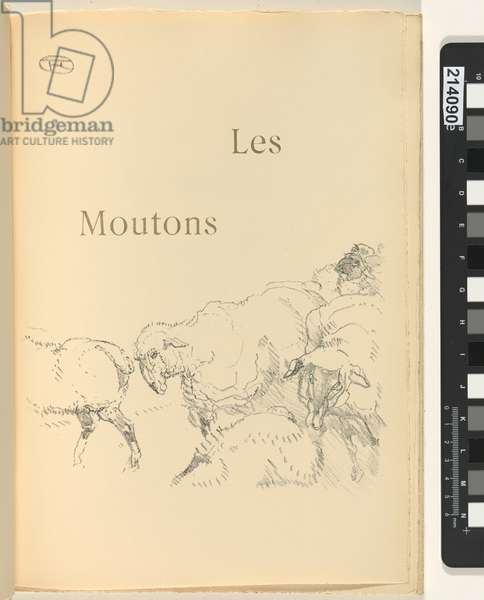 Les moutons, illustration from 'Histoires naturelles' by Jules Renard, 1897 (brush transfer litho)