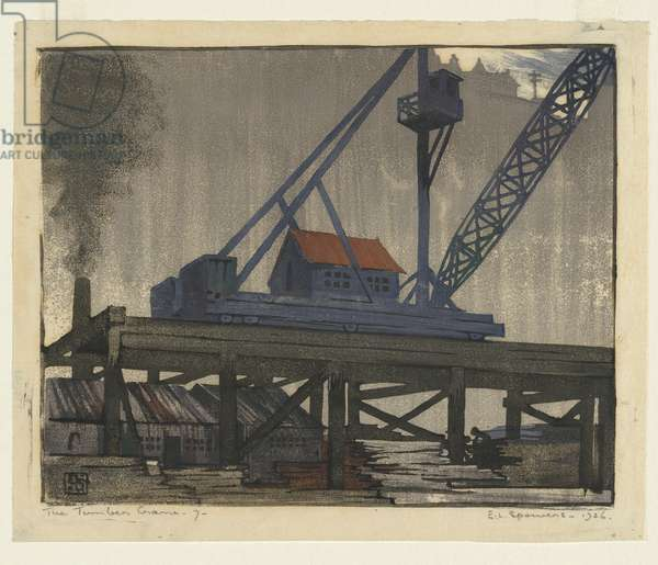 The timber crane, 1926 (colour linocut)