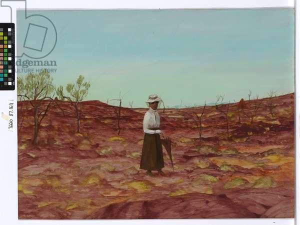Daisy Bates at Ooldea, 1950 (oil & enamel paint on canvas)