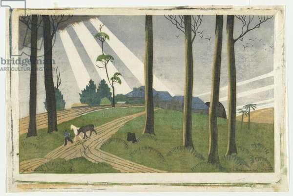The Lonely Farm, 1933 (colour linocut)