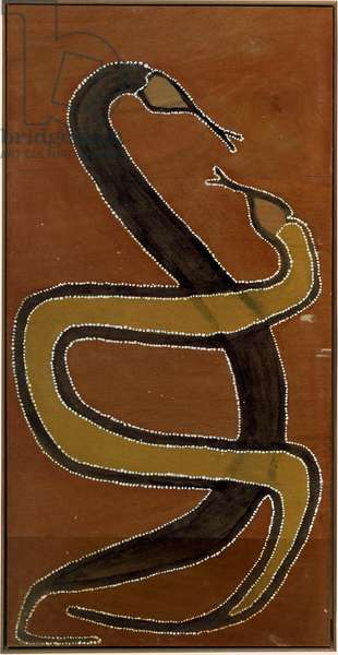 Wungurr is the name for that Snake, No. 5 in the series of ten paintings of The Krilkril Ceremony, 1983 (natural pigments & binders on plywood)