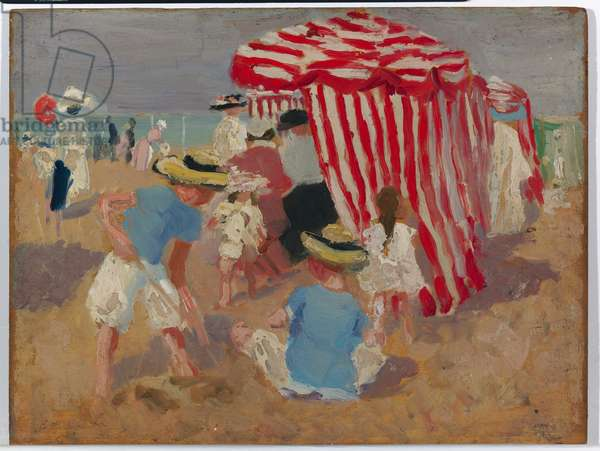 On the Sand, c.1910 (oil on wood panel)