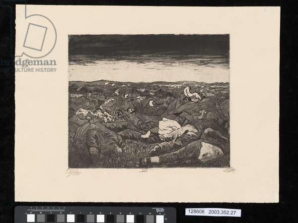 Evening on the Wijtschaete Plain, November 1917, illustration from the portfolio 'Der Krieg', 1924 (etching & aquatint)