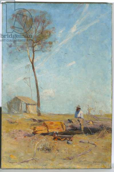 The Selector's Hut (Whelan on the log) 1890 (oil on canvas)