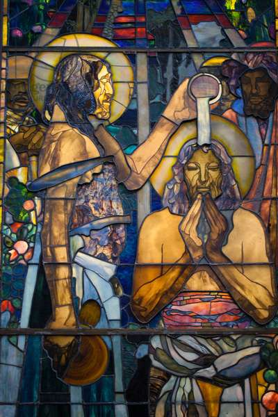 Detail of stained glass 'The Christening' by Louis Comfort Tiffany