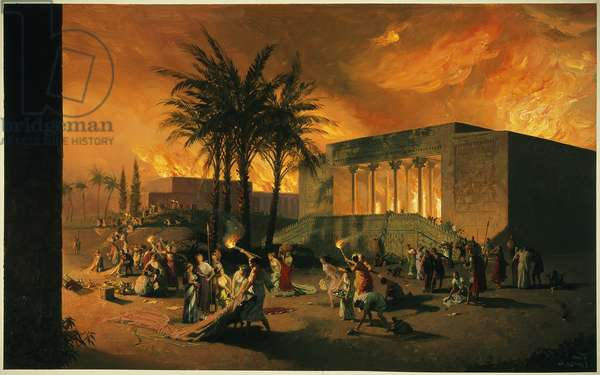 An attack on the ancient city of Persepolis (colour litho)