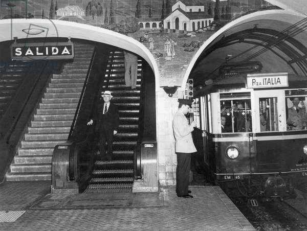 This subway train is headed to the Plaza Italia Station, Buenos Aires, Argentina, 1939 (b/w photo)