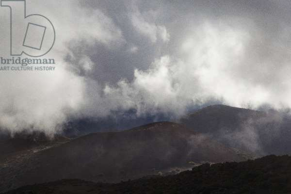 Fog and clouds show the shifting microclimates of Hawaii Island, en route to Mauna Kea's summit (photo)