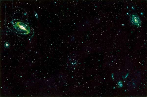 A painting of a portion of the universe shows its vastness (colour litho)