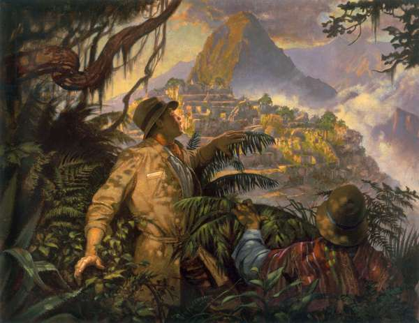 Painting depicting Hiram Bingham's discovery of Machu Picchu, Peru in 1911 (colour litho)