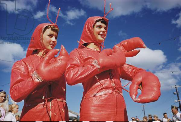 Two girls dressed as lobsters participate in the Lobster Festival, Rockland, Maine, 1952