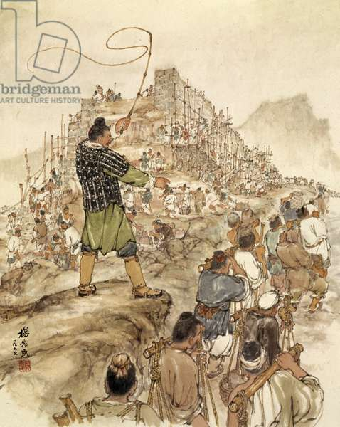 Slaves building the Great Wall of China (colour litho)