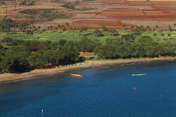 Aerial view of a beach for canoeing at Kaanapali beach