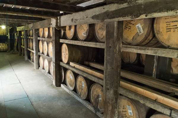 Barrels of whiskey at the Buffalo Trace Distillery in Frankfort