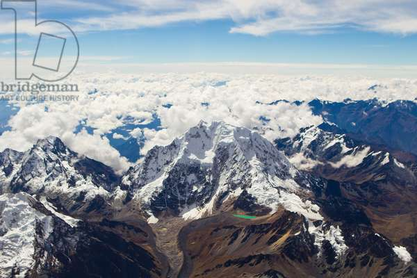 Aerial of the snow-covered Andes mountains in Peru (photo)