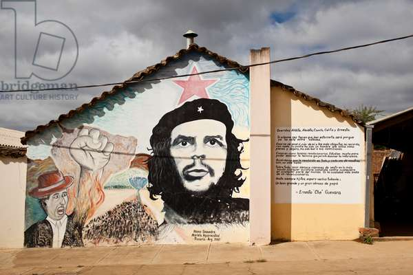 A mural dedicated to Ernesto 'Che' Guevara on the Vallegrande hospital (photo)