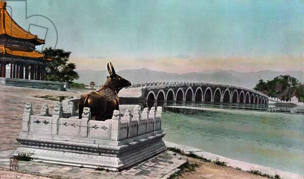 Painting of a bronze cow statue serving as protection from floods, 1936 (hand-coloured photo)
