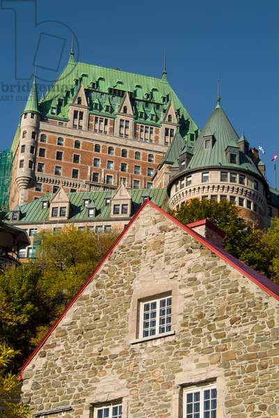 The iconic Chateau Frontenac dominates the skyline of Quebec City, seen from lower city