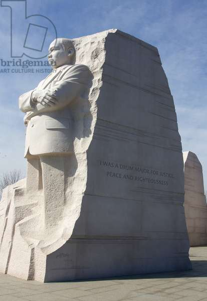 Statue of Martin Luther King, Jr with inscribed paraphrased quote (photo)
