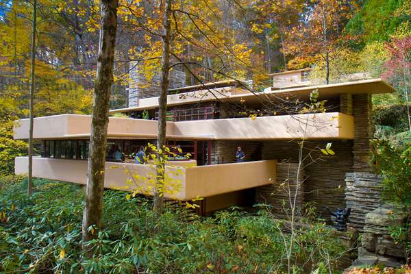 Fallingwater, a residence designed by Frank Lloyd Wright, and built over a waterfall (photo)