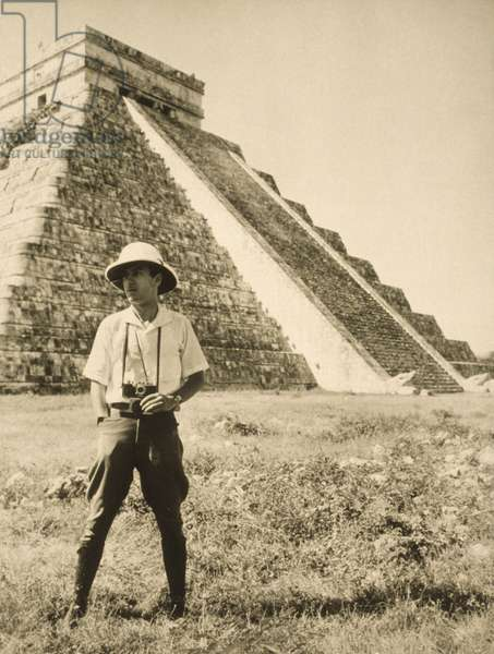 An informal portrait of photographer and explorer Luis Marden, Chichen Itza, Yucatan State, Mexico, 1934 (b/w photo)