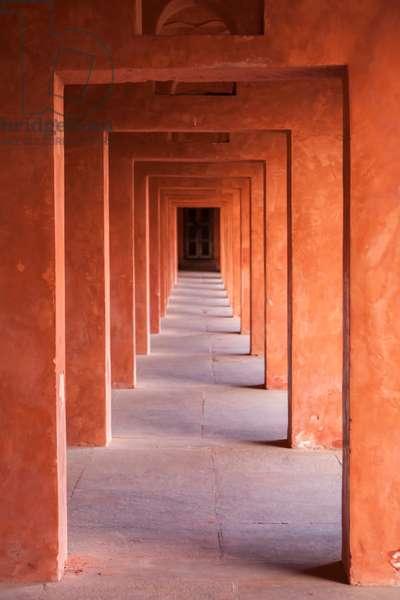 A corridor at the Taj Mahal Mosque or masjid (photo)