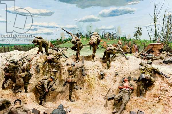 A diorama featuring the battle at Mont St Quentin on 29 August 1918 when the Germans fell back to the line of the Somme (photo)
