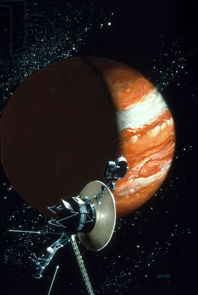 Voyager 1 with camera and antenna trained on Jupiter (colour litho)