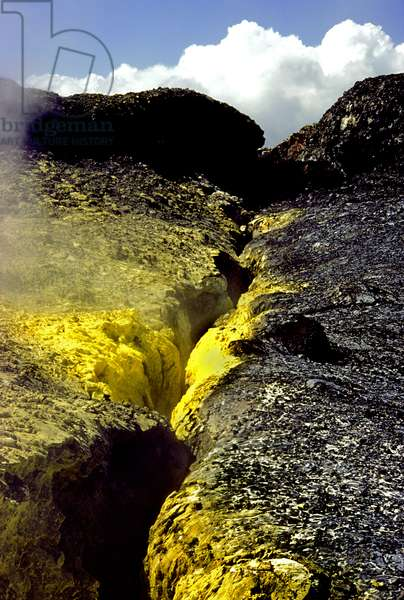 A sulfur crevice in the lava fields of Hawaii