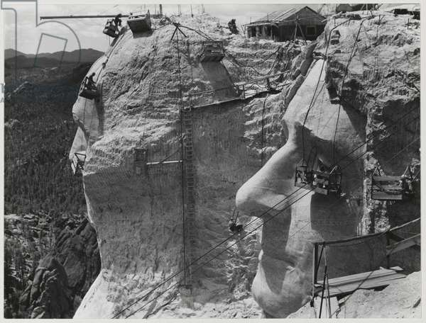 Thomas Jefferson at Mount Rushmore under construction, Mount Rushmore, South Dakota, 1939