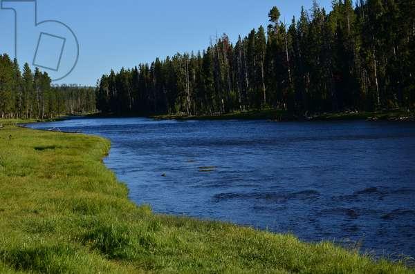 The Yellowstone River runs through Yellowstone National Park, Wyoming (photo)