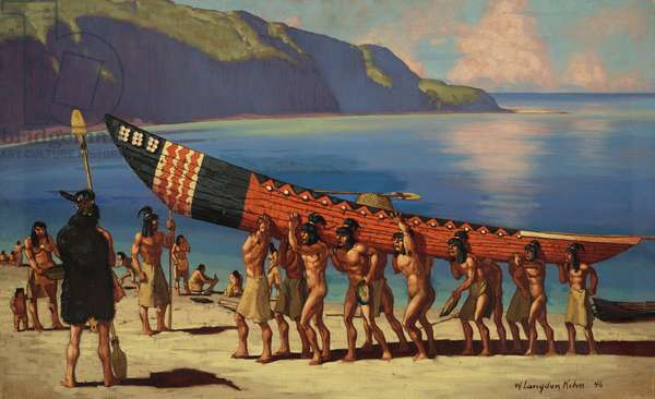 A group of Chumash Indians carry a plank canoe from the water, 1948 (colour litho)