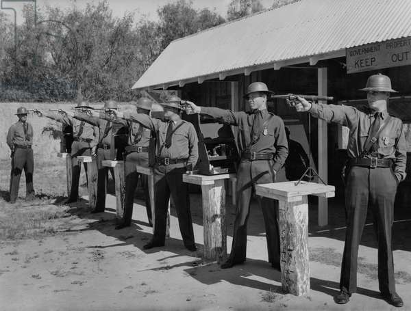 Pistol team of the Border Patrol of the United States Immigration Service, Laredo, Texas, USA, 1938 (b/w photo)