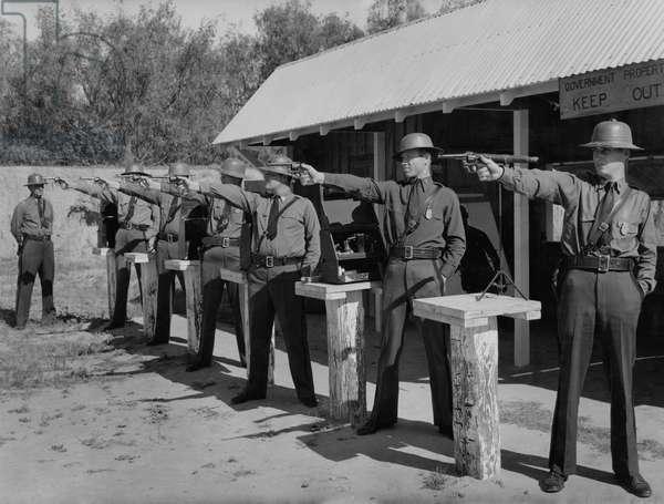 Pistol team of the Border Patrol of the United States Immigration Service, Laredo, Texas, USA, 1938 (b/w photo)