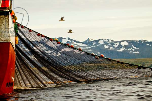 A red fishing boat and net off the island of Fugloy, Norway (photo)