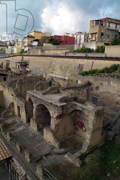 A view of the Herculaneum ruins and contemporary homes in Ercolano (photo)
