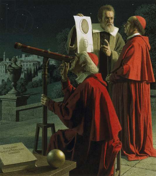 Galileo explaining moon topography to skeptics (colour litho)