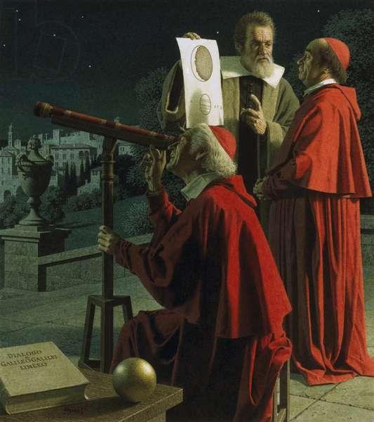 Galileo explaining moon topography to skeptics (colour litho)