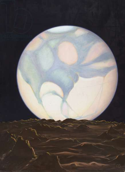 A painting of Mars seen from its moon, Phobos (colour litho)