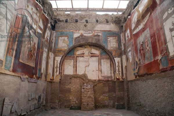 Painted walls in the House of the Augustali in Herculaneum (photo)