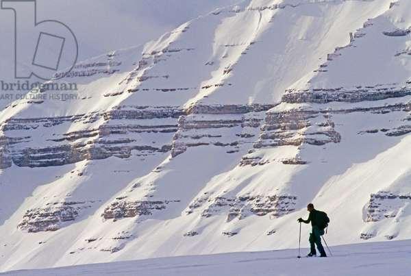 An expedition skier crosses Tunabreen Glacier on Spitsbergen Island (photo)
