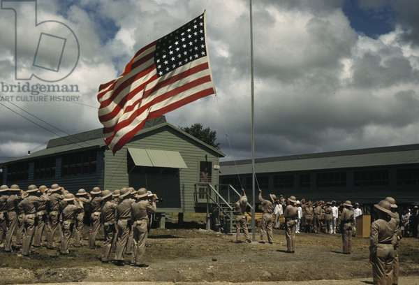 The American flag flies over the United States Army base on St. Lucia, Saint Lucia, 1942 (photo)