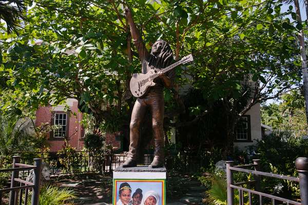 A statue of Bob Marley at the Bob Marley Museum in Kingston, Jamaica (photo)