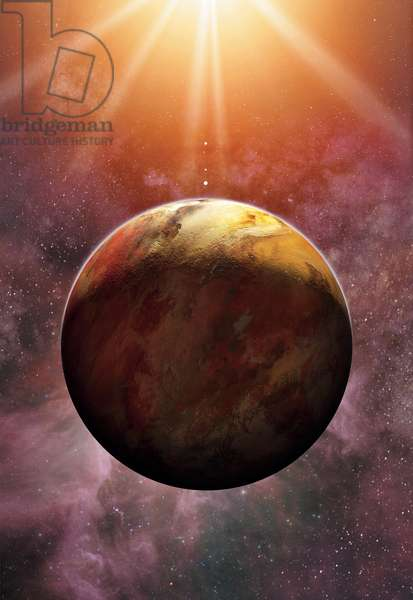 Newly discovered planet Gliese 581 e, 2009 (colour litho)