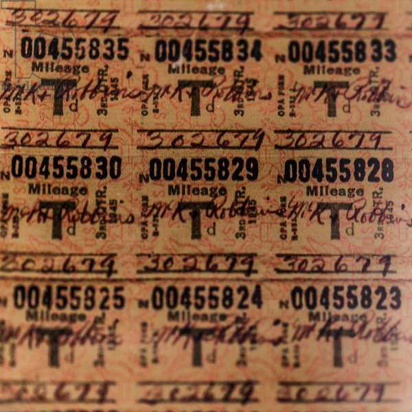 World War II gasoline ration stamp coupons at the History Museum of Mobile (photo)